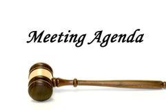 De agenda en de hamer van de vergadering Royalty-vrije Stock Afbeelding