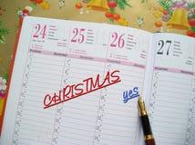 De agenda van Kerstmis Stock Foto