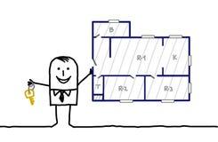 De agent & apertmentplan van onroerende goederen Stock Foto