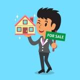 De agent en het huis van de onroerende goederenmakelaar voor verkoop stock illustratie