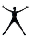 De agent van de vrouw jogger gelukkig springen Stock Afbeelding