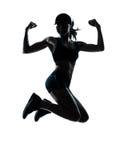 De agent van de vrouw jogger krachtig springen Stock Fotografie