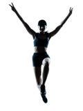 De agent van de vrouw jogger zegevierend springen Stock Fotografie