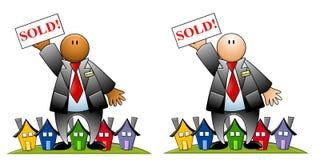 De Agent van onroerende goederen Met Verkochte Teken en Huizen Stock Fotografie