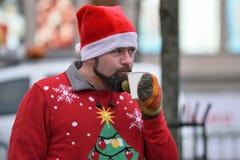 De agenten op traditionele Vilnius-Kerstmis rennen royalty-vrije stock foto