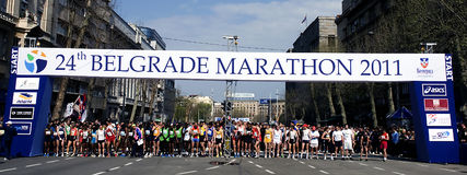 De agenten vóór marathon beginnen Stock Afbeelding