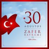 30 de agosto, cartão da celebração de Victory Day Turkey Foto de Stock
