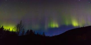 30 de agosto de 2016 - Aurora Borealis ou a aurora boreal iluminam o céu noturno de Kantishna, Alaska - MNT Parque nacional de De Fotos de Stock