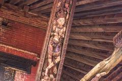 18 de agosto de 2014 - detalhe de templo em Bhaktapur, Nepal Foto de Stock Royalty Free