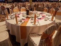 31 de agosto de 2016, Kuala Lumpur Banquet o jantar com a decoração da bandeira de Malásia na tabela Imagens de Stock Royalty Free