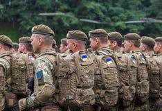 24 de agosto de 2016 Kyiv, Ucrânia Parada militar Imagem de Stock