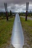 26 de agosto de 2016: La tubería de Transporte-Alaska mueve el petróleo crudo desde Prudhoe Bay al puerto sin hielo de Valdez, Al Fotos de archivo