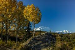28 de agosto de 2016 - monte Denali conocido previamente como monte McKinley, el pico de la montaña más alta de Norteamérica, en  Imagen de archivo