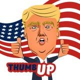 3 de agosto de 2016 polegar de Donald Trump acima dos desenhos animados Imagem de Stock