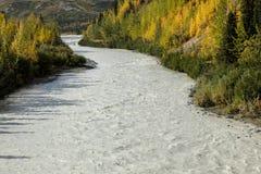 26 de agosto de 2016 - reflexões em Richardson Highway, rota 4, Alaska, 2016 - rio rujir e cor do outono como visto fora de Richa Imagem de Stock
