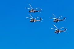6 de agosto de 2016 Ryazan, Rússia Os helicópteros das forças armadas Imagem de Stock
