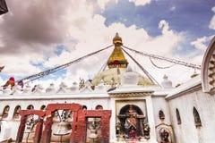 18 de agosto de 2014 - templo de Boudhanath em Kathmandu, Nepal Imagem de Stock Royalty Free