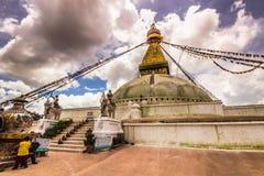 18 de agosto de 2014 - templo de Boudhanath em Kathmandu, Nepal Foto de Stock Royalty Free