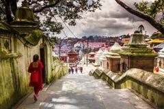 18 de agosto de 2014 - templo de Pashupatinath en Katmandu, Nepal Foto de archivo libre de regalías