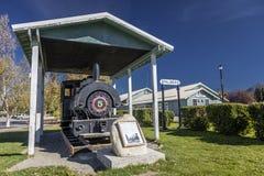 31 de agosto de 2016, trainstation histórico entre Seward y Fairbanks Alaska, tren del carbón, elevación 241 pies, PALMER, ALASKA Foto de archivo libre de regalías