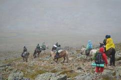 18 de agosto de 2012 - um grupo de turistas atravessa a cavalo o S Imagens de Stock Royalty Free