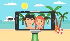 19 de agosto dia da fotografia do mundo Vara do selfie da foto para o telefone Descanse na costa do oceano ou do mar Imagens de Stock