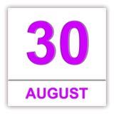 30 DE AGOSTO Dia no calendário Imagens de Stock Royalty Free