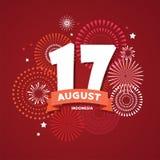 17 de agosto en fondo del fuego artificial el cartel para celebra el día nacional de Indonesia Independencia feliz de Indonesia stock de ilustración