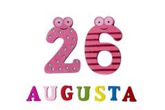 26 de agosto Imagem do 26 de agosto, close-up dos números e letras no fundo branco Foto de Stock Royalty Free