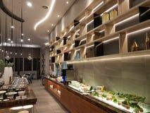 15 de agosto de 2018, Kuala Lumpur Todo el día cenando el restaurante puesto en el hotel de Mercure Selangor Selayang imagenes de archivo
