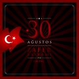 30 de agosto, tarjeta de la celebración de Victory Day Turkey ilustración del vector