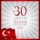 30 de agosto, tarjeta de la celebración de Victory Day Turkey stock de ilustración