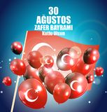 30 de agosto, Victory Day Turkish Speak 0 Agustos, Zafer Bayrami Kutlu Olsun Ilustración del vector Stock de ilustración