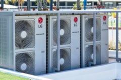 De airconditioner van LG in openlucht stock afbeeldingen