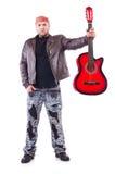 De akoestische speeldetails van de gitaargitarist Muzikale instrumant met uitvoerdershanden Royalty-vrije Stock Foto