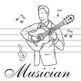 De akoestische speeldetails van de gitaargitarist Muzikale instrumant met uitvoerdershanden De musicus speelt het instrument royalty-vrije illustratie