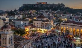 De Akropolis van Athene bij Schemering Royalty-vrije Stock Foto's