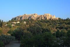 De Akropolis van Athene van oud Agora Stock Foto