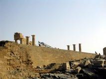 De Akropolis van Lindos Stock Afbeeldingen