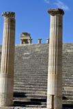 De akropolis van Lindos bij het eiland van Rhodos, Greec Stock Foto