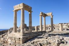 De akropolis van Lindos, Rhodos stock afbeelding