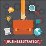 De aktentas van de handholding met pictogrammen Bedrijfsstrategie vlakke illustratie vector illustratie