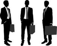 De aktentassilhouetten van de zakenmanholding Stock Afbeelding