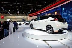 De al nieuwe het Blad elektrische auto van Nissan 2018 is bij de de Motorshow 2017 van Doubai Royalty-vrije Stock Foto