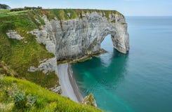 De Albasten Kust van Etretat, Normandië, Frankrijk stock foto