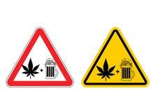 De alcohol en de drugs van de waarschuwingsbordaandacht Gevaren geel teken M vector illustratie