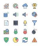 De algemene pictogrammen, Kleur plaatsen 3 - Vectorillustratie Stock Foto's