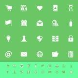 De algemene pictogrammen van de omslagkleur op groene achtergrond Stock Afbeeldingen