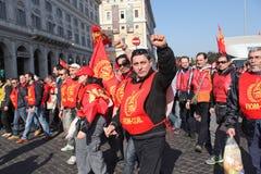 De algemene staking van metaalarbeiders in Italië Stock Foto
