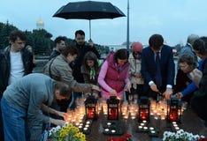 De alle-Russische Patriottische actie ` morgen was de oorlog ` op Poklonnaya-heuvel Stock Afbeeldingen